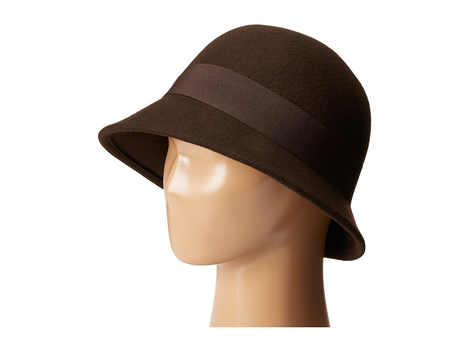 SCALA Wool Felt Cloche with Grograin Band and Bow Brown Caps