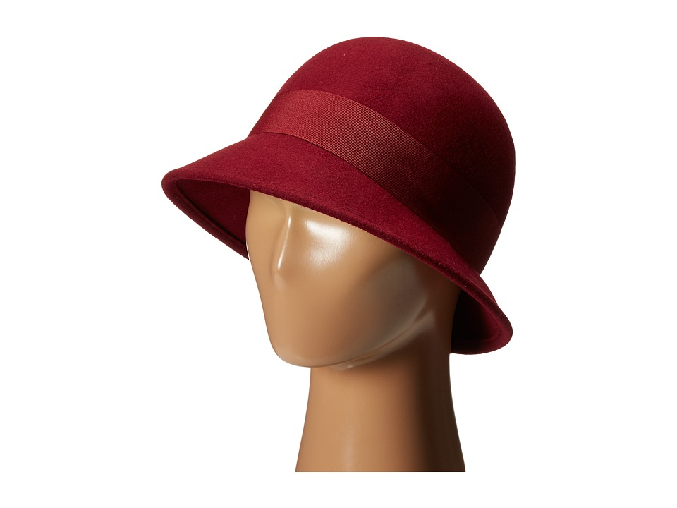 SCALA Wool Felt Cloche with Grograin Band and Bow Wine Caps