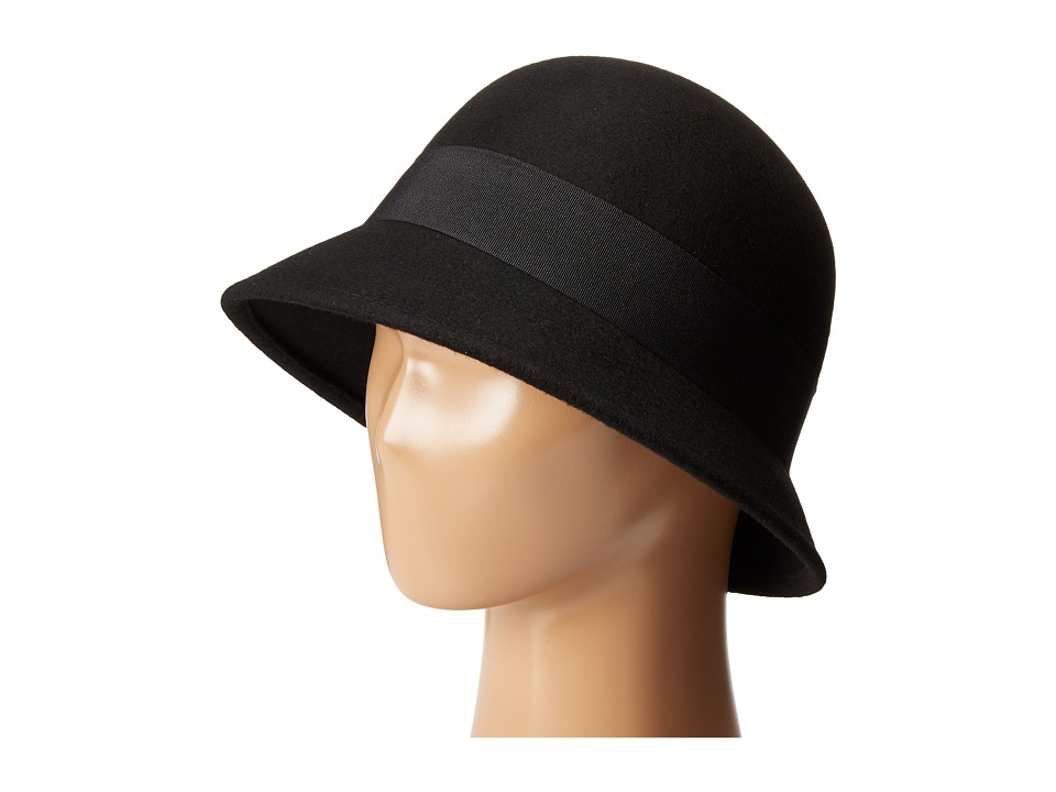 SCALA Wool Felt Cloche with Grograin Band and Bow Black Caps