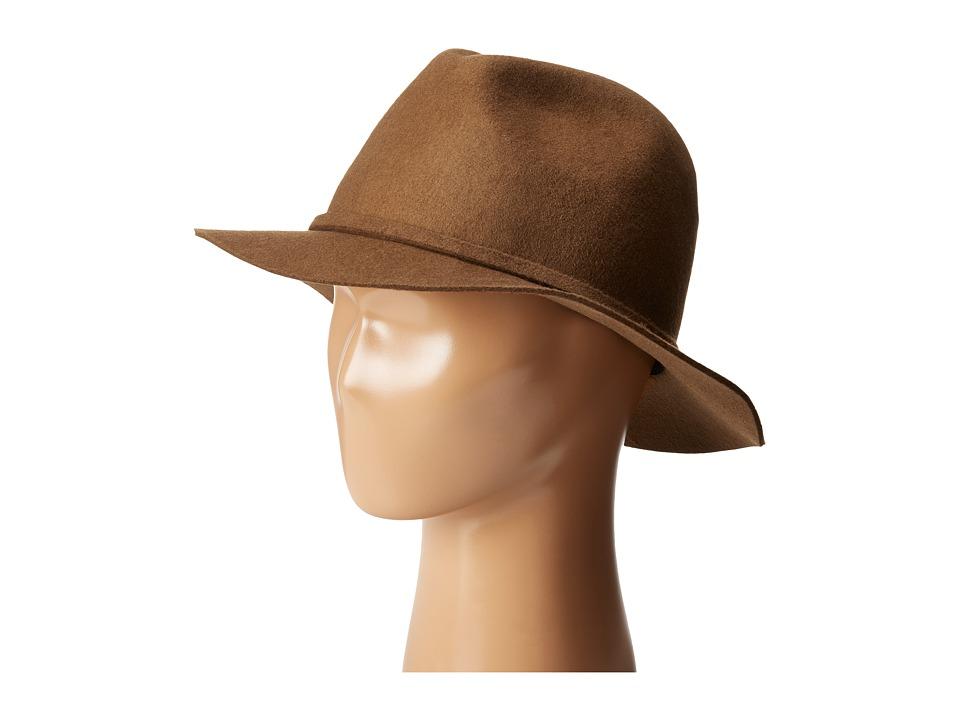SCALA Wool Felt Safari with Feather Trim Pecan Safari Hats