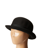 SCALA - Wool Felt Bowler Hat with Bow and Velvet Cross Piece
