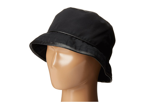 SCALA Rain Bucket Hat with Piping Trim - Black