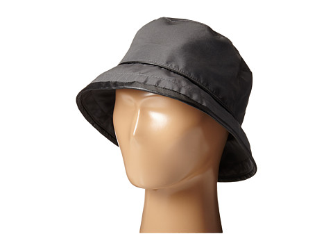 SCALA Rain Bucket Hat with Piping Trim - Charcoal