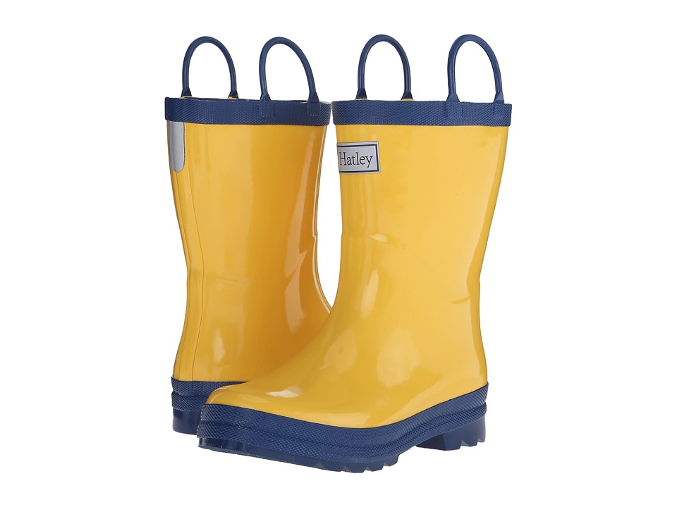 Hatley Kids Yellow Navy Rainboots (Toddler/Little Kid) (Yellow/Navy) Boys Shoes