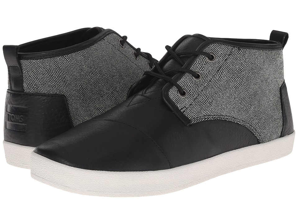 TOMS Paseo Mid Black/White/Caviar Leather Mens Lace up casual Shoes