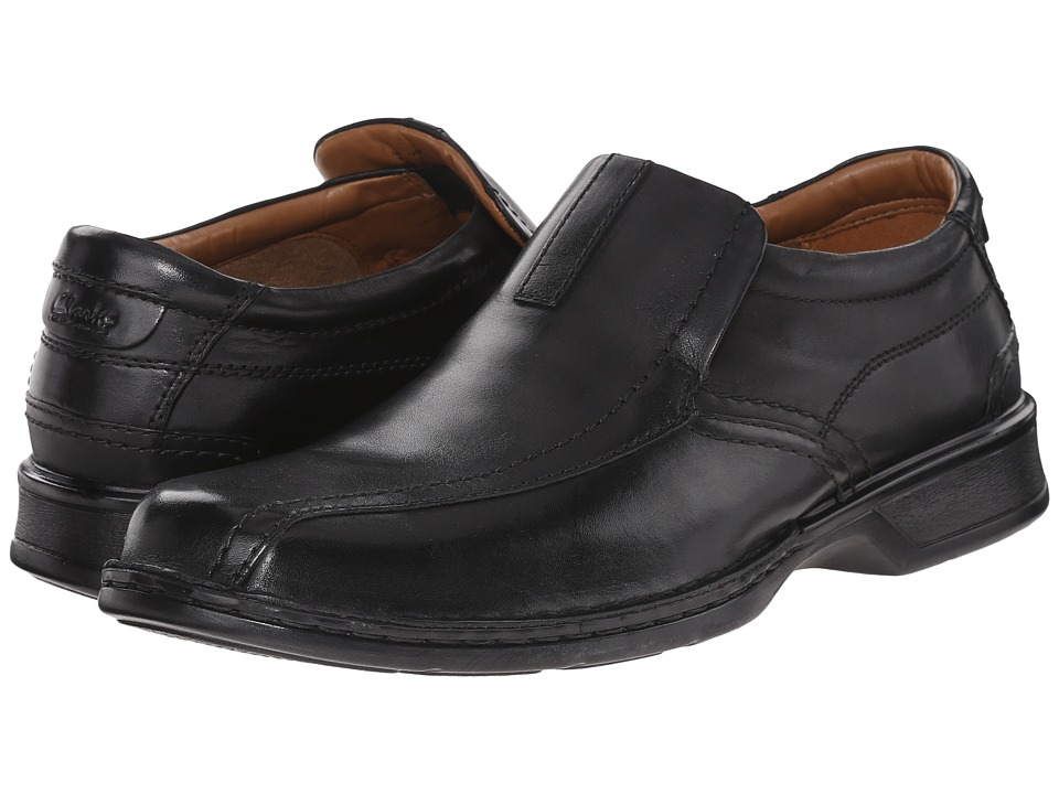 Clarks - Escalade Step (Black Leather) Mens Slip on  Shoes
