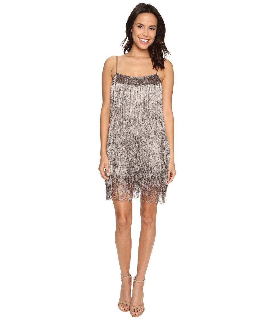 Rachel Zoe Della Fringe Metallic Mini Dress Copper Womens Dress