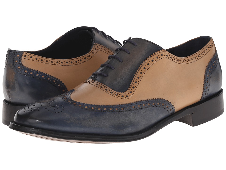 Mens Vintage Style Shoes| Retro Classic Shoes Messico - Capuchino Vintage NavyBone Leather Mens Dress Flat Shoes $145.00 AT vintagedancer.com