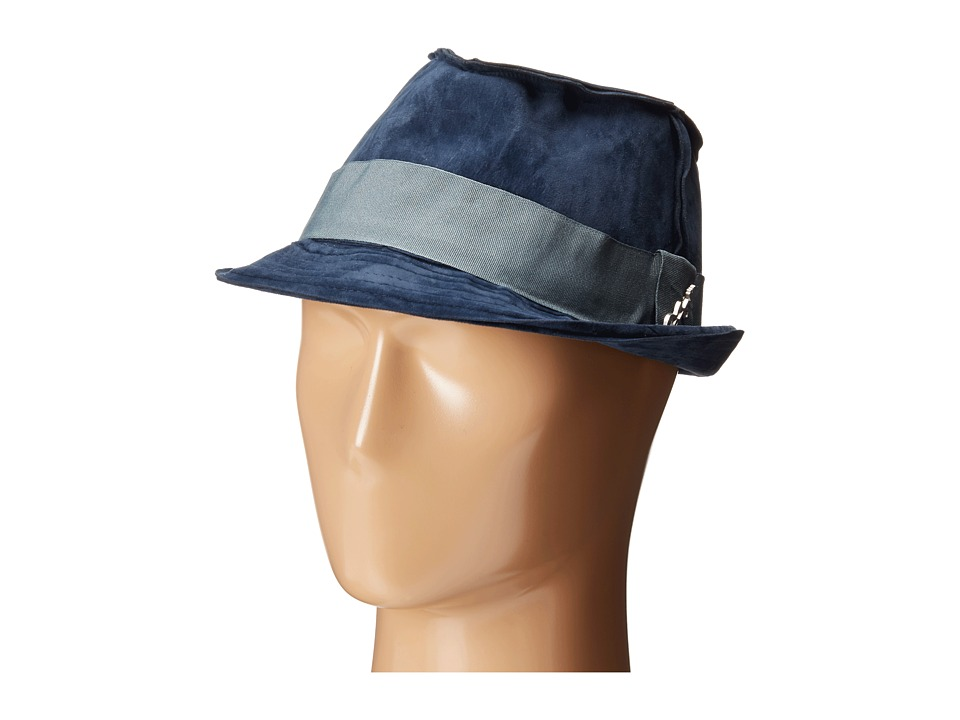 CARLOS by Carlos Santana Fedora with Grograin Trim Denim Fedora Hats