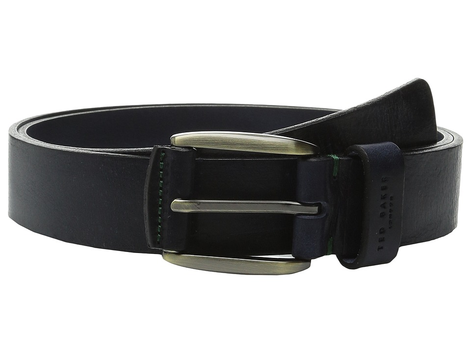 Ted Baker Jeebelt Textured Leather Jean Belt Navy Mens Belts