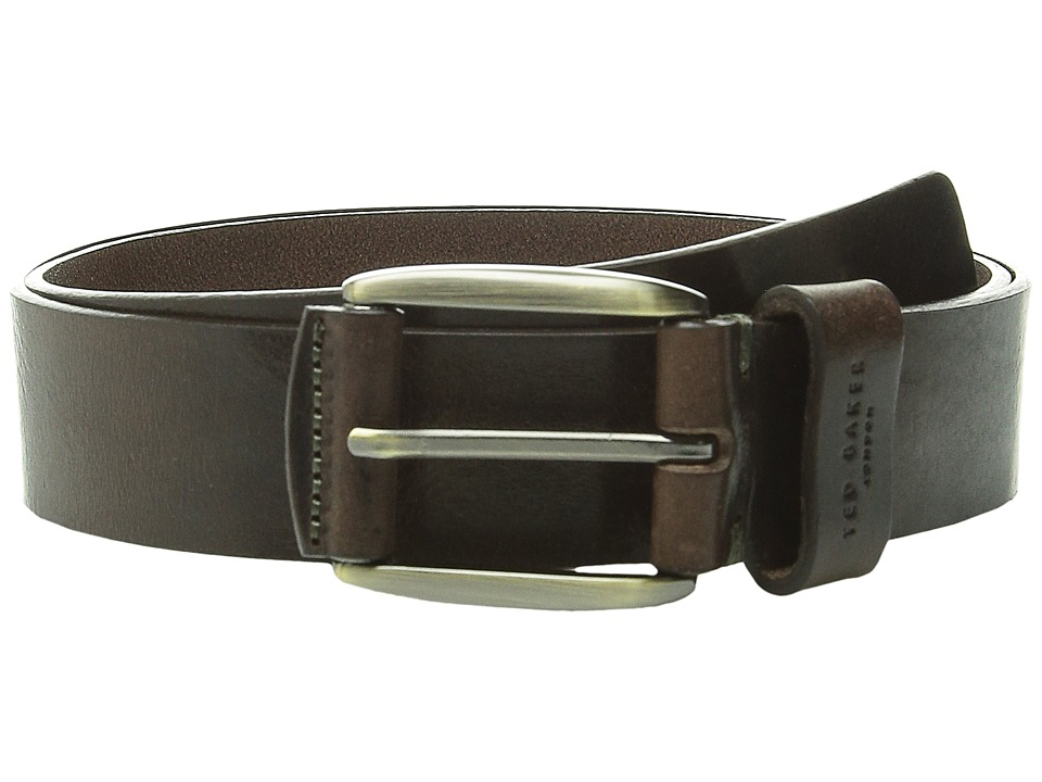 Ted Baker Jeebelt Textured Leather Jean Belt Chocolate Mens Belts