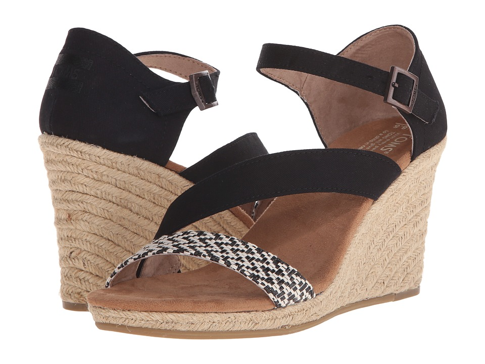 TOMS Clarissa Wedge Black White Woven/Rope Womens Wedge Shoes