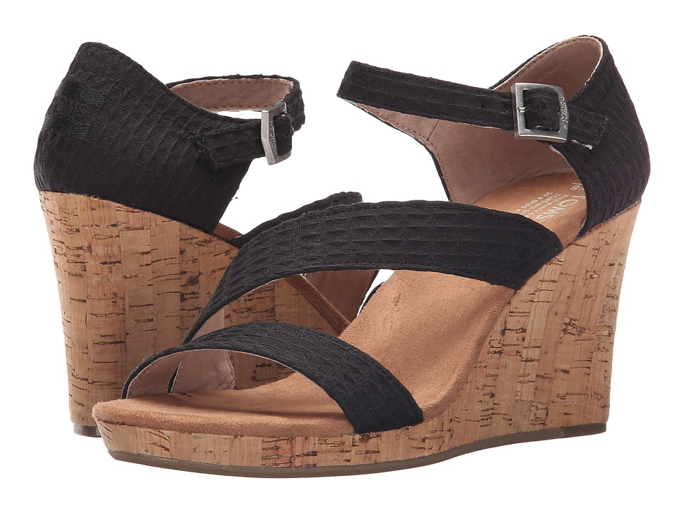 TOMS Clarissa Wedge Black Textile/Cork Womens Wedge Shoes