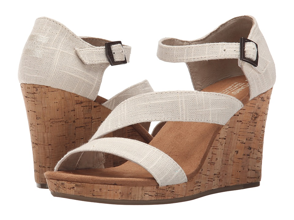 TOMS Clarissa Wedge Natural Linen/Cork Womens Wedge Shoes