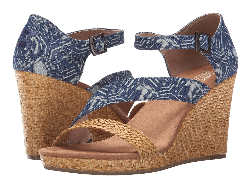 TOMS Clarissa Wedge Blue Batik Textile/Wrapped Womens Wedge Shoes