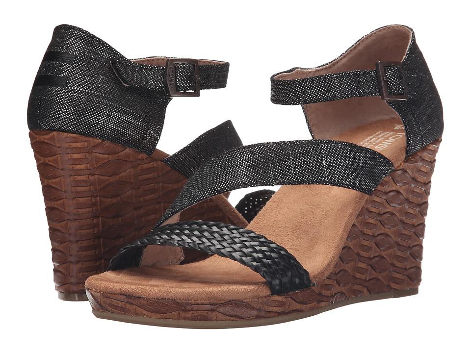TOMS Clarissa Wedge Black Metallic Linen/Embossed Womens Wedge Shoes