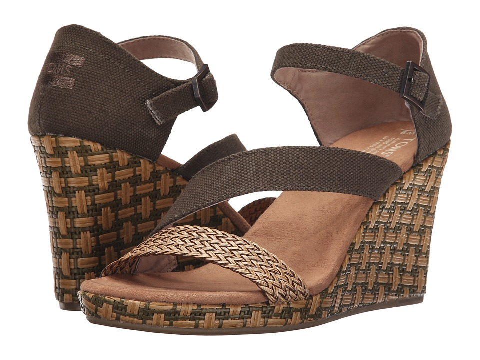 TOMS Clarissa Wedge Olive Textile/Wrapped Womens Wedge Shoes