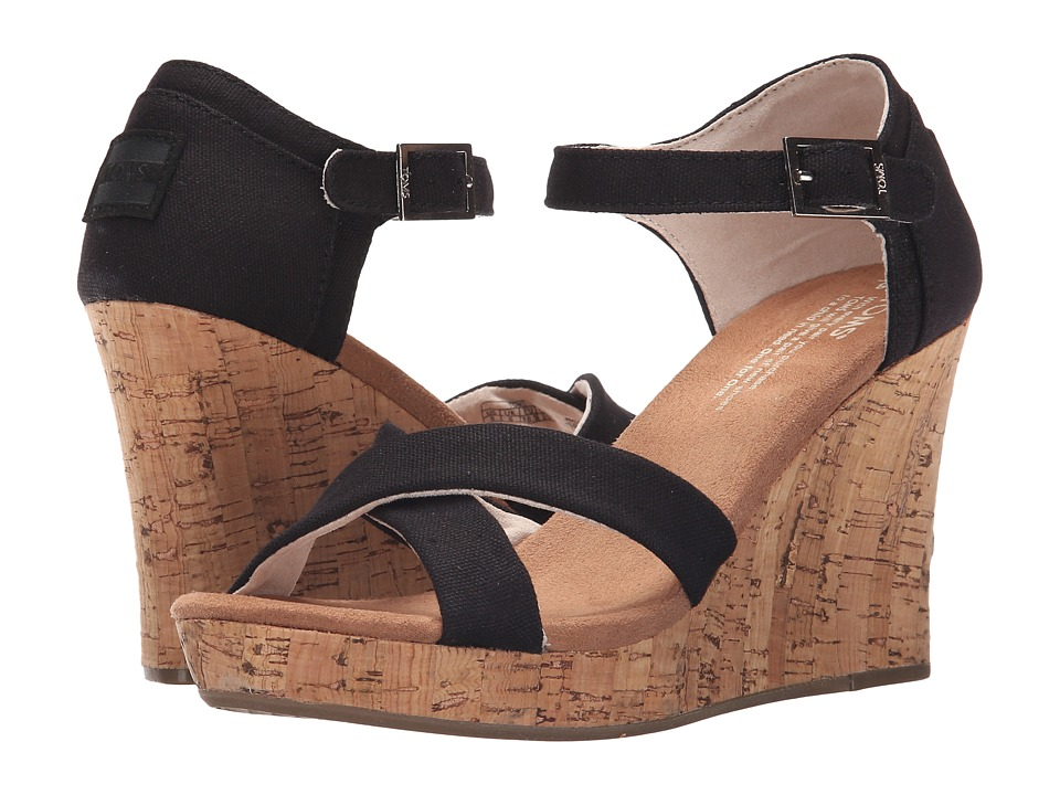TOMS - Strappy Wedge (Black Canvas/Cork) Womens Wedge Shoes