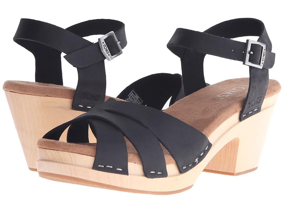 TOMS Beatrix Clog Sandal Black Leather Womens Clog/Mule Shoes