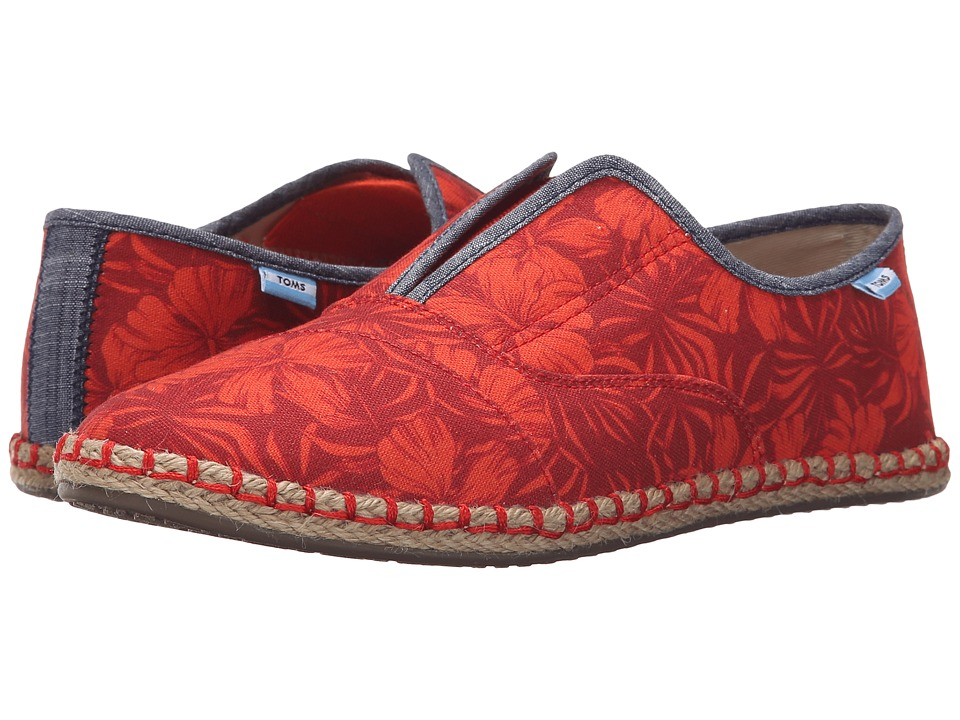 TOMS Palmera Slip On Red Multi Canvas Hibiscus Womens Flat Shoes