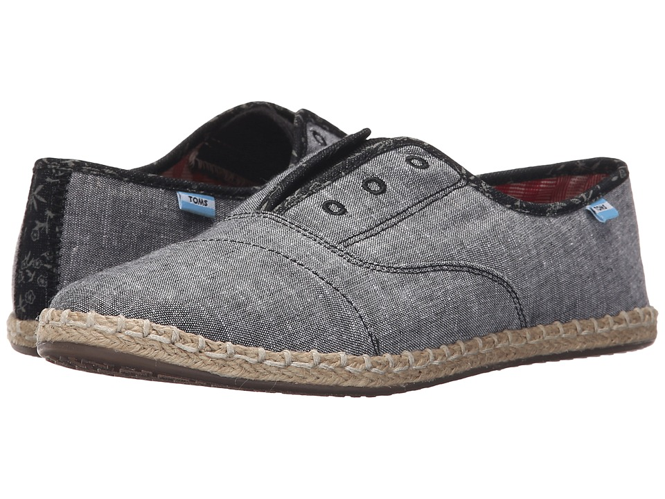 TOMS Palmera Slip On Grey Chambray Womens Flat Shoes