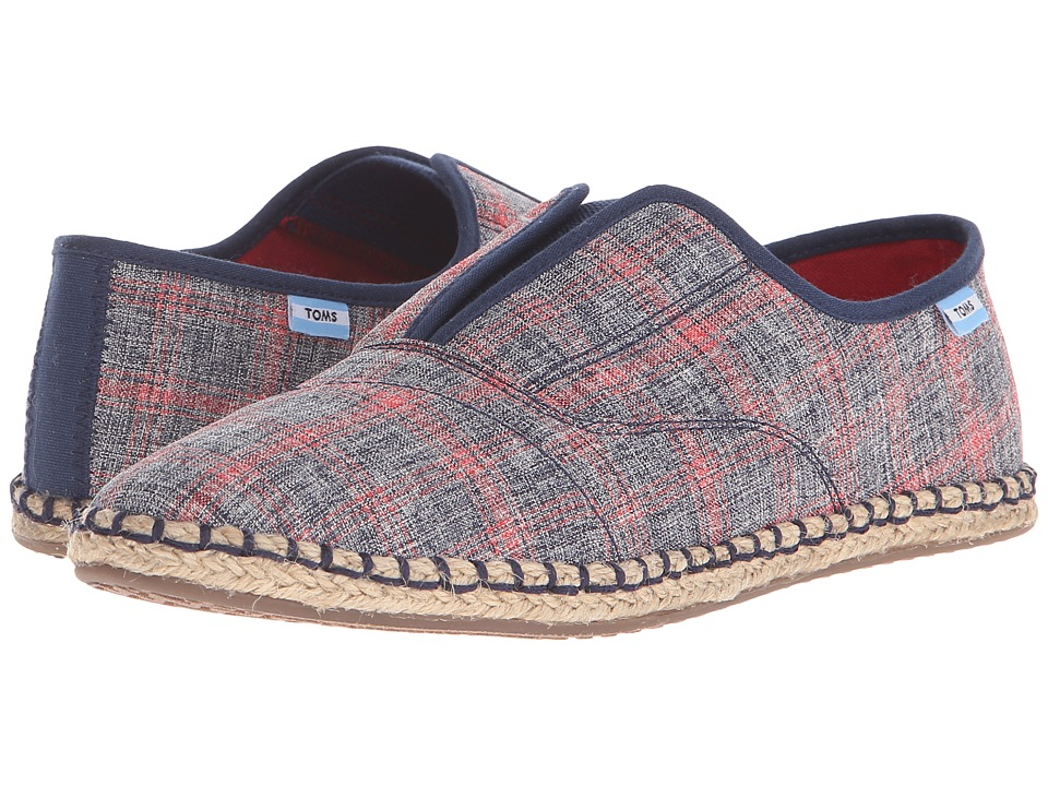 TOMS Palmera Slip On Navy Red Plaid Womens Flat Shoes