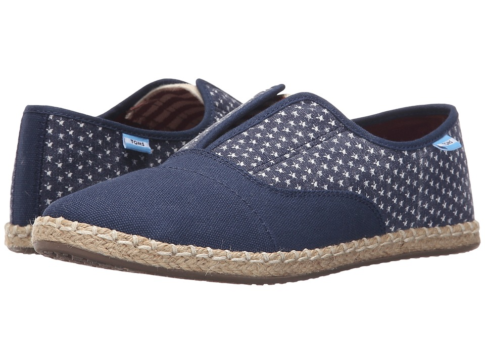 TOMS Palmera Slip On Americana Navy Canvas Stars Womens Flat Shoes