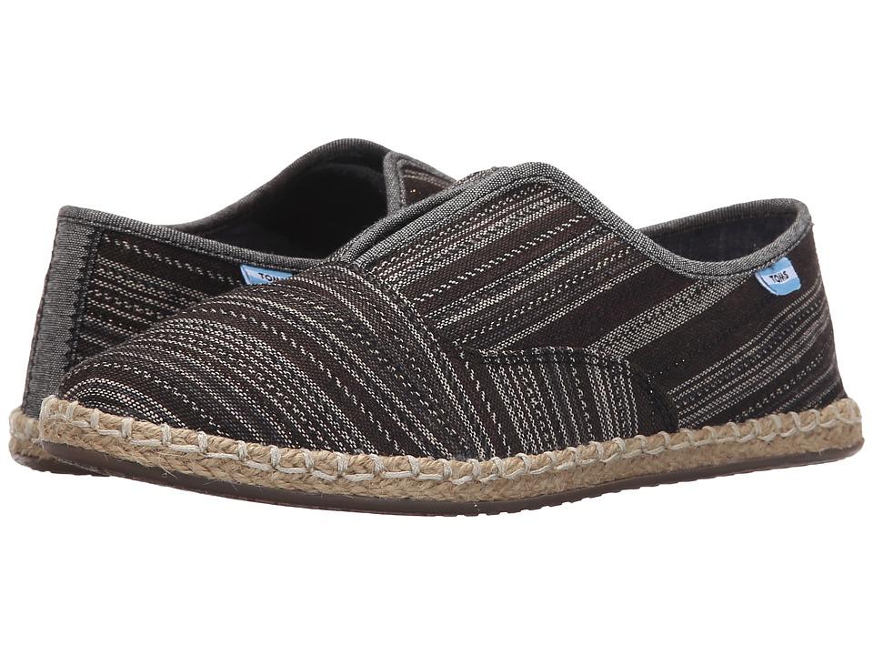 TOMS Palmera Slip On Black Metallic Stripe Womens Flat Shoes