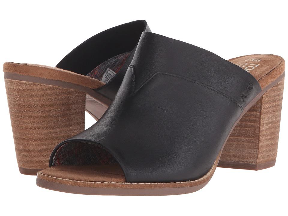 TOMS Majorca Mule Sandal (Black Leather) Women