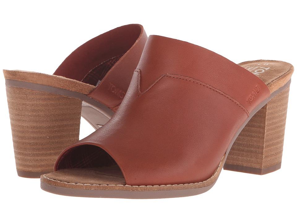 TOMS - Majorca Mule Sandal (Cognac Leather) Womens Clog/Mule Shoes
