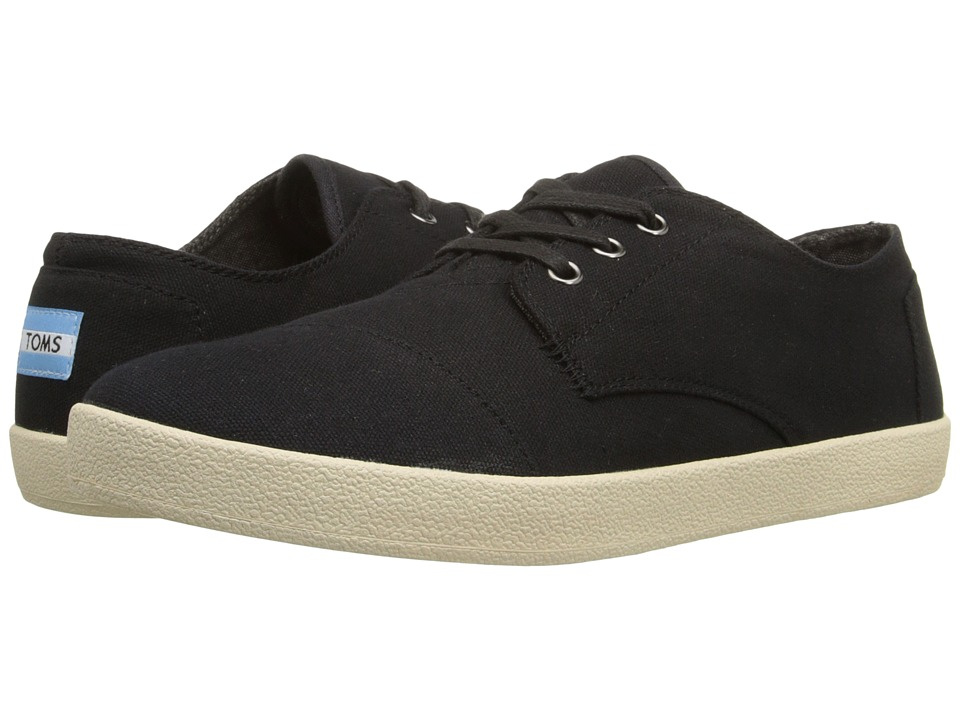 TOMS Paseo Black Canvas Mens Lace up casual Shoes