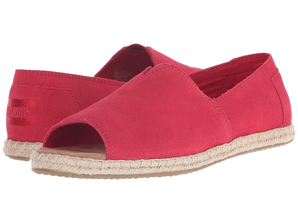TOMS - Alpargata Open Toe (Raspberry Suede) Womens Flat Shoes