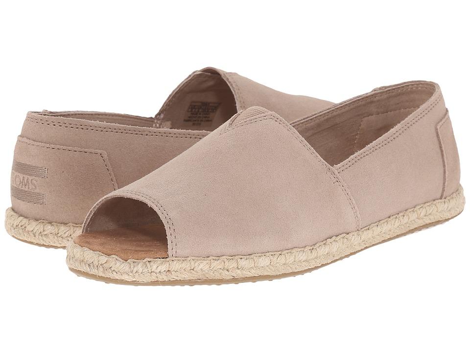 TOMS Alpargata Open Toe Stucco Suede Womens Flat Shoes