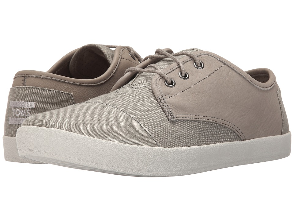 TOMS Paseo Taupe Leather/Washed Canvas Mens Lace up casual Shoes
