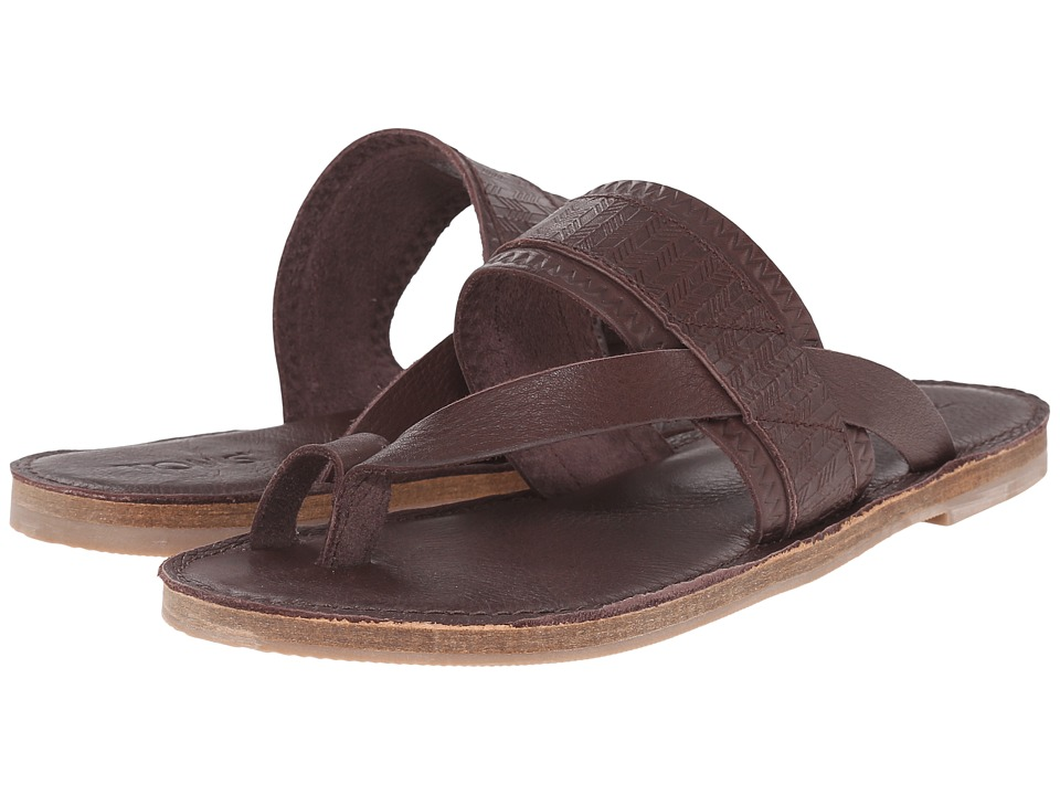 TOMS Isabella Sandal Mahogany Full Grain Leather Embossed Womens Sandals