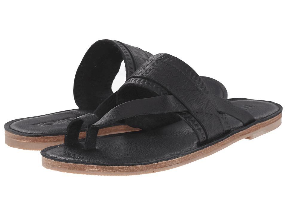 TOMS - Isabella Sandal (Black Full Grain Leather Embossed) Womens Sandals