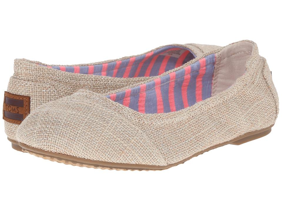 TOMS Kids Ballet Flat Little Kid/Big Kid Natural Metallic Burlap Girls Shoes