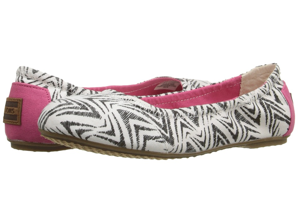TOMS Kids Ballet Flat Little Kid/Big Kid Black Canvas Zebra Girls Shoes