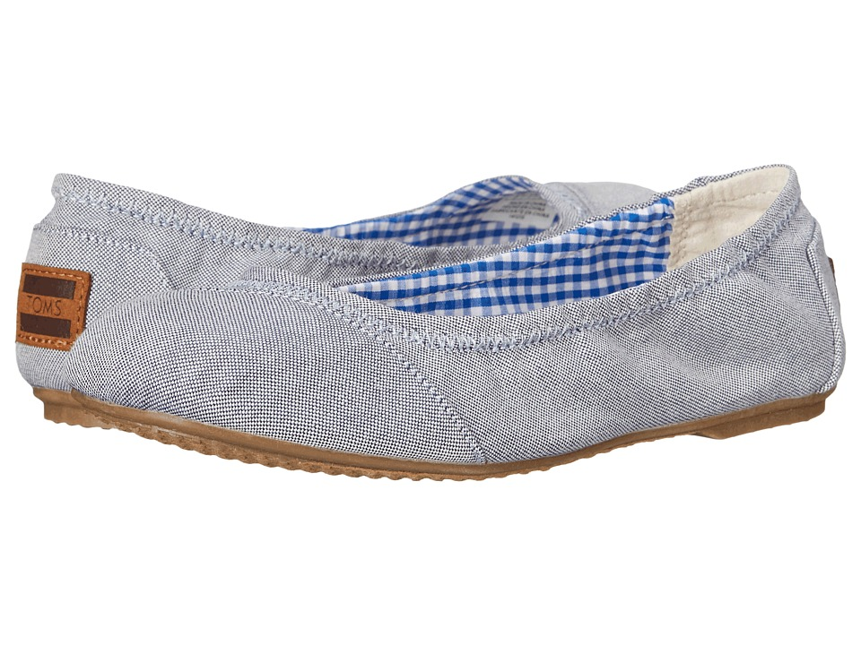 TOMS Kids Ballet Flat Little Kid/Big Kid Light Blue Chambray Girls Shoes