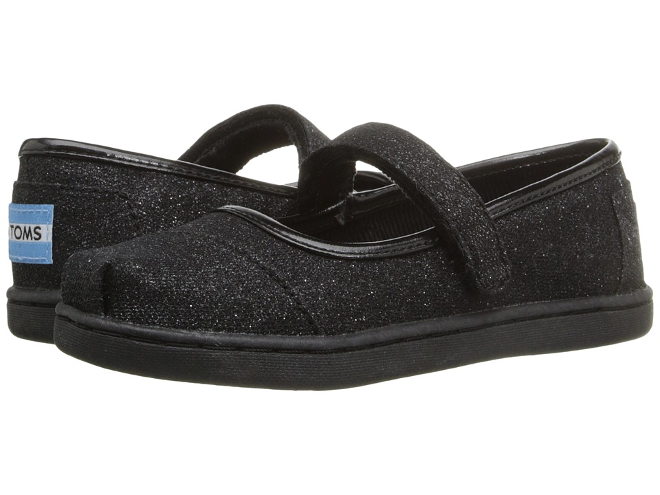 TOMS Kids Mary Jane Flat (Infant/Toddler/Little Kid) (Black Glimmer) Girls Shoes