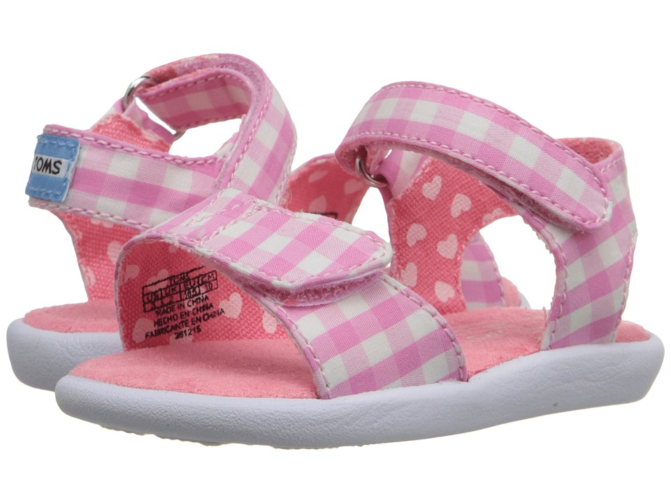 TOMS Kids - Strappy Sandal (Infant/Toddler/Little Kid) (Pink Gingham) Girls Shoes