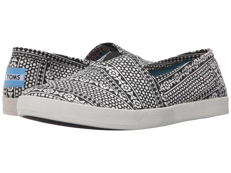 TOMS Avalon Slip On Black Moroccan Tile Womens Slip on Shoes
