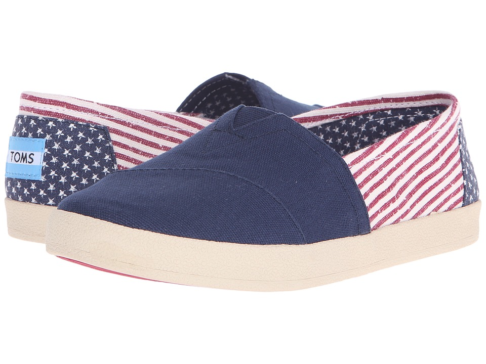 TOMS Avalon Slip On Americana Canvas Flag Womens Slip on Shoes