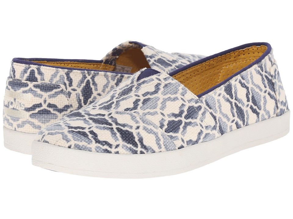 TOMS Avalon Slip On Natural Blue Textured Canvas Tile Womens Slip on Shoes
