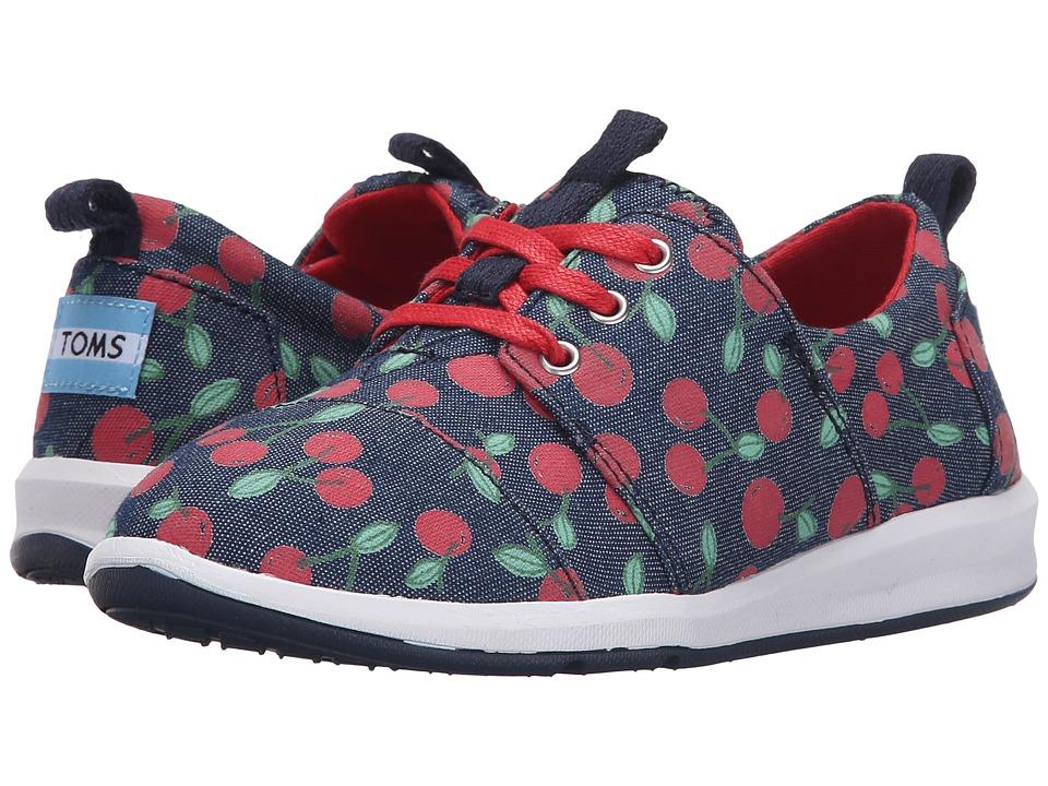 TOMS Kids Del Rey Sneaker Little Kid/Big Kid Denim Cherries Kids Shoes