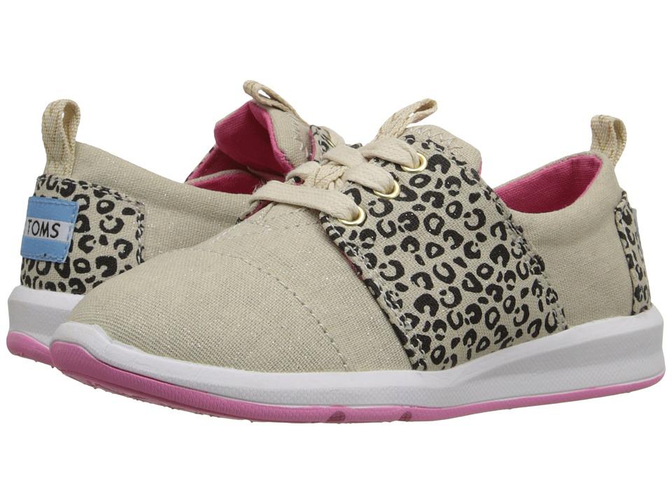 TOMS Kids Del Rey Sneaker Little Kid/Big Kid Leopard Linen Glimmer Kids Shoes