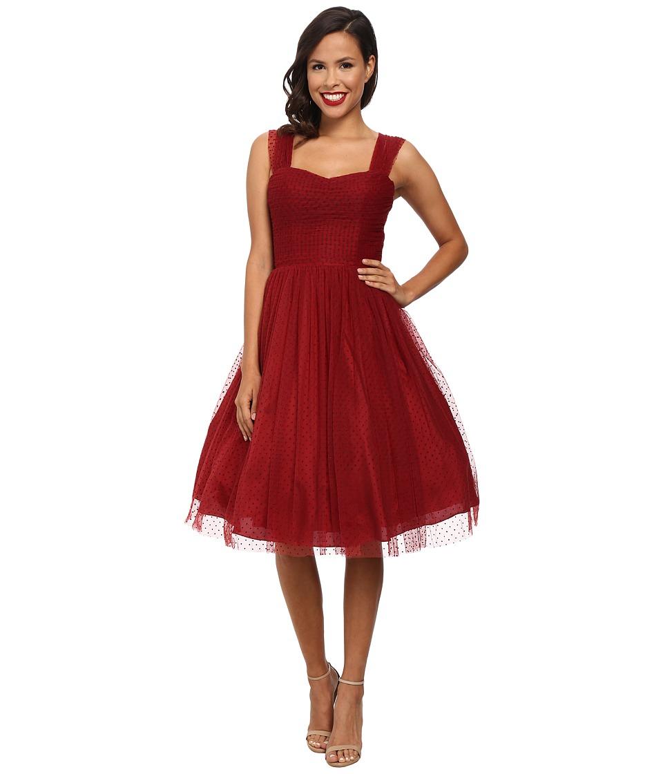 Unique Vintage - Dotted Garden State Dress Burgundy Womens Dress $138.00 AT vintagedancer.com