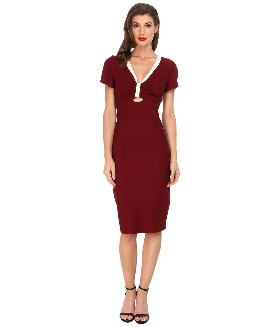 Unique Vintage - Bombshell Stretch Dress Burgundy Womens Dress $98.00 AT vintagedancer.com