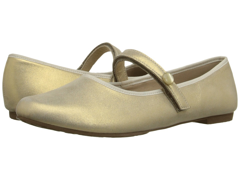 Elephantito Princess Flat Toddler/Little Kid/Big Kid Metallic Suede Gold Girls Shoes