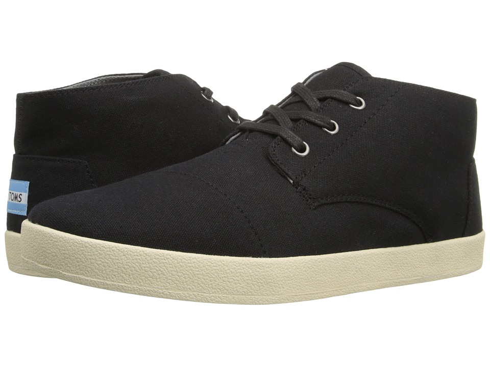 TOMS Paseo Mid Black Canvas Mens Lace up casual Shoes